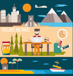 freelance and travel horizontal flat design vector image