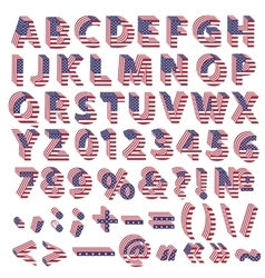 Full alphabet from USA flag letters vector image