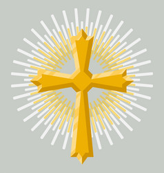 Golden holy cross icon isolated vector