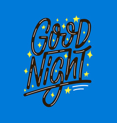 Good night lettering print vector