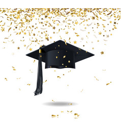 Graduate cap and confetti vector