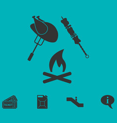Grill or barbecue icon flat vector