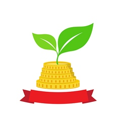Growing investment coin money and green leaf with vector image