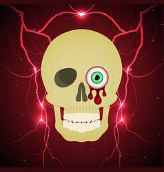 Halloween blood eyeball skull thunderbolt vector