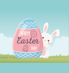 happy easter cute rabbit and egg with lettering vector image