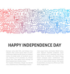 happy independence day line template vector image