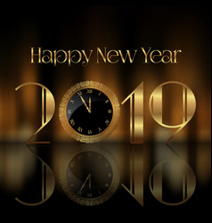 happy new year background with clock face vector image