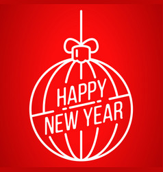happy new year tree ball icon outline style vector image