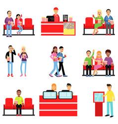 Happy people in the cinema or movie theatre set vector