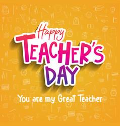 Happy teacher day sticker style with school vector