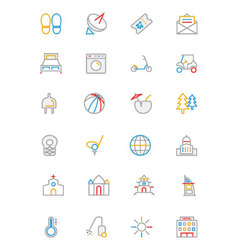 Hotel and Restaurant Colored line Icons 6 vector