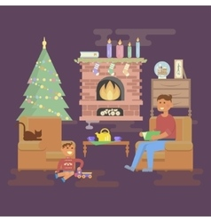 House Christmas room vector