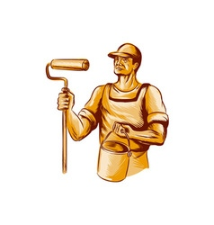 House Painter Holding Paint Roller Etching vector