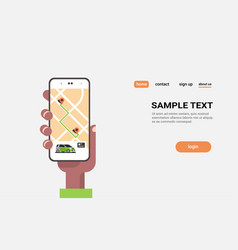 human hand using online ordering taxi car sharing vector image