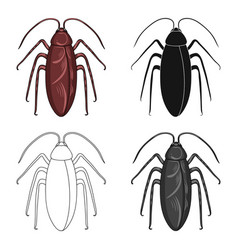 Insect cockroach single icon in cartoonblack vector