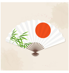 Japanese fan sun bamboo white background im vector