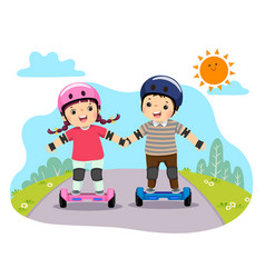 kids in safety helmets riding on hoverboards vector image
