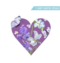 love t-shirt design with flowers butterflies vector image