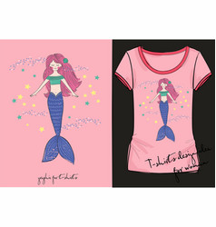 lovely mermaid t-shirt vector image