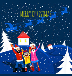 merry christmas happy family card vector image