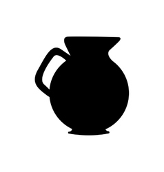monochrome silhouette of jug with handle vector image