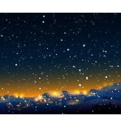 Night winter landscape with snow vector
