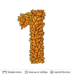 Number one of autumn leaves vector