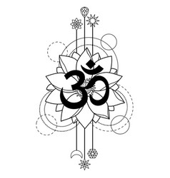 om and lotus tattoo vector image