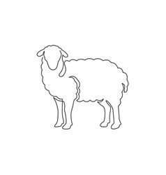 One continuous line drawing funny cute sheep vector