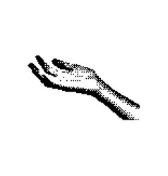 Open right hand palm up 8 bit minimalistic pixel vector