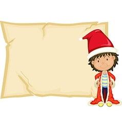 Paper template with boy in santa hat vector