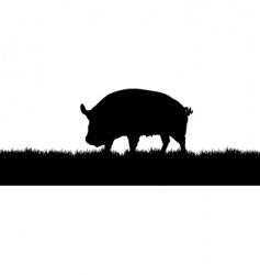 Pig meadow vector