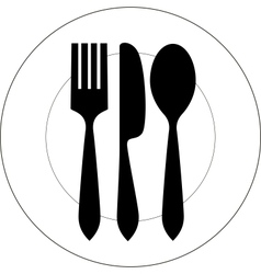 Plate with fork knife and spoon vector