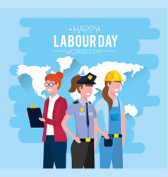 Professional people with uniform to labour day vector