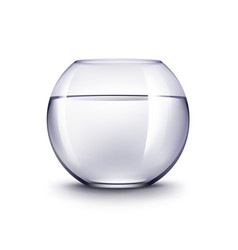 Realistic glass fishbowl aquarium without fish vector