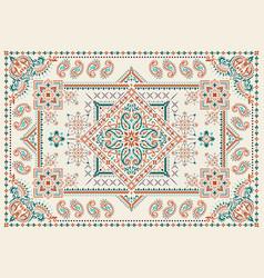 Rectangular bandana print design for rug carpet vector