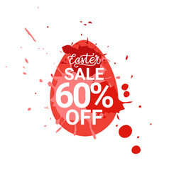 red easter sale sticker egg with paint splash vector image