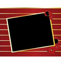 Red gold black tilted rectangle frame background vector image