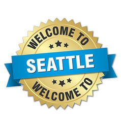 Seattle 3d gold badge with blue ribbon vector