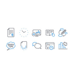 Set education icons such as quick tips time vector