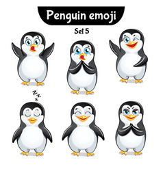 Set of cute penguin characters set 5 vector