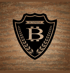 shield with bitcoin symbol vector image