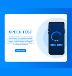 Speed test on smartphone speedometer internet vector