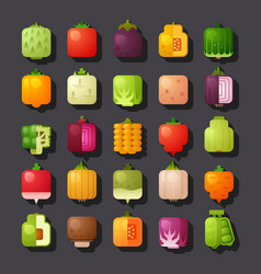 Square shaped vegetables icon set vector