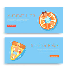 summer time relax inscription on set banners vector image