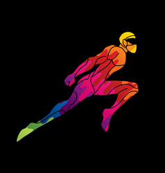 Superhero flying action cartoon superhero ninja vector