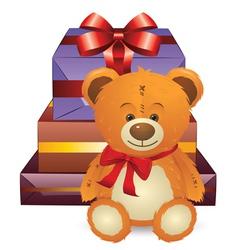 Teddy Bear with Gift Box vector
