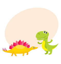 two cute and funny baby dinosaur characters vector image