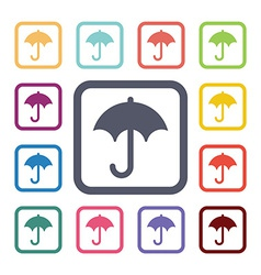 umbrella flat icons set vector image