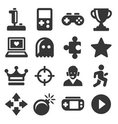 Video game and controller icons set vector